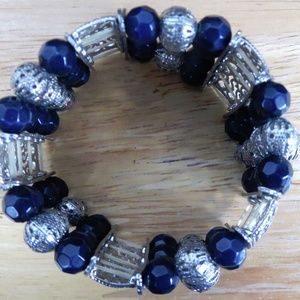 Fashion Bracelet Metal Silver Tone Plastic Beads